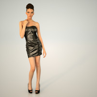 3d little black leather dress