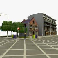 3d city block 6 street model