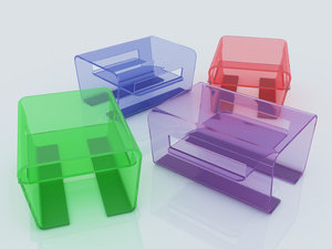 max different colored glass tables