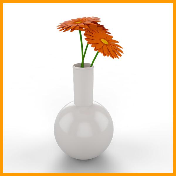 3d flowers vase 01 model