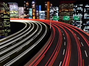 highway city night 3d model