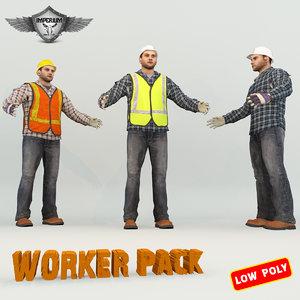 3d model worker pack