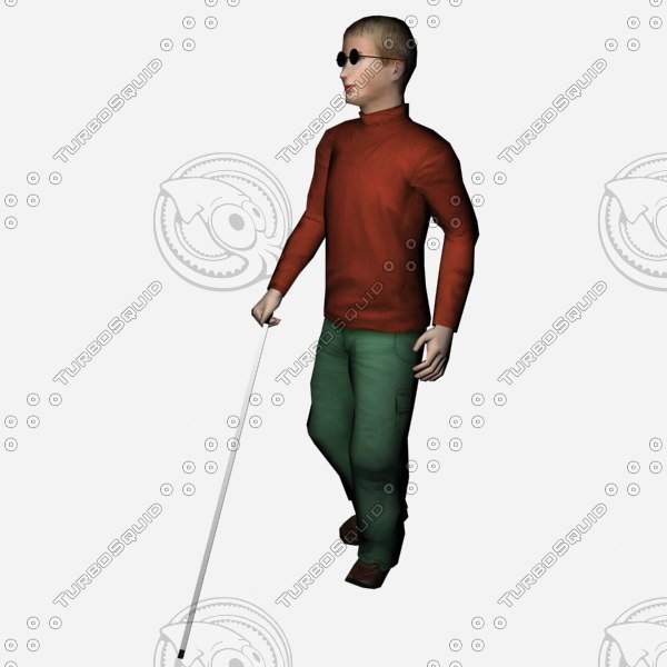boy blind 3d obj