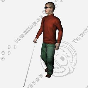 boy blind 3d obj