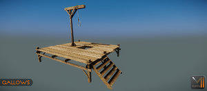 3d model gallows medieval