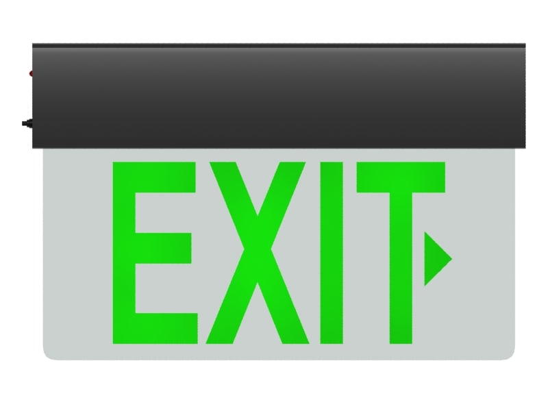 3d model of glass exit sign v