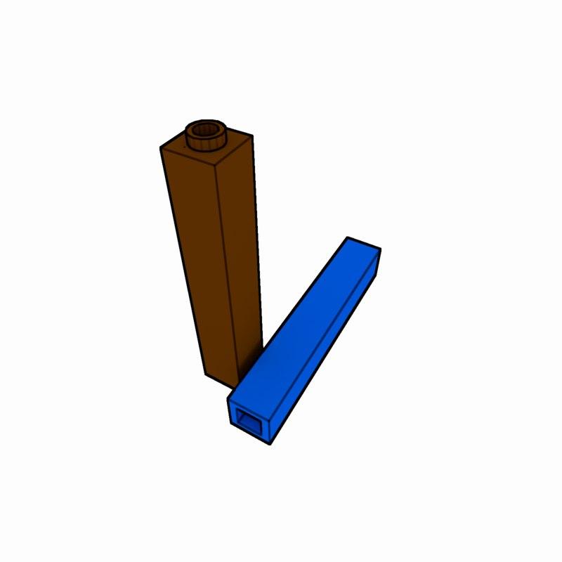 piece lego brick 1x1x5 3d model