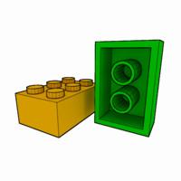 3d piece lego brick 2x3