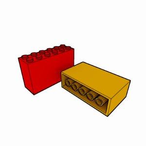 piece lego brick 2x6x3 3d model