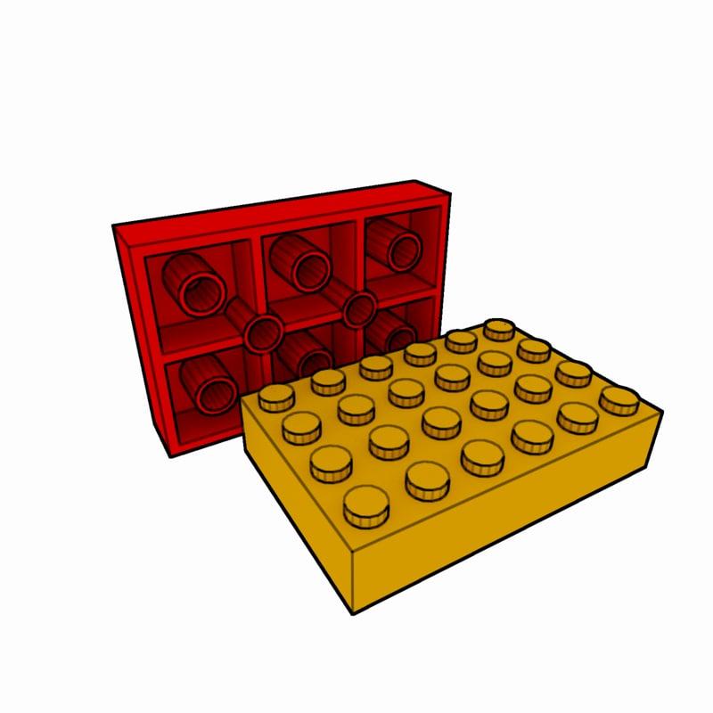 3d piece lego brick 4x6