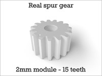 Real spur gear 2mm module - 15 teeth