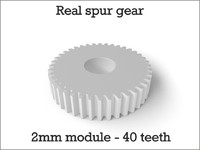 Real spur gear 2mm module - 40 teeth