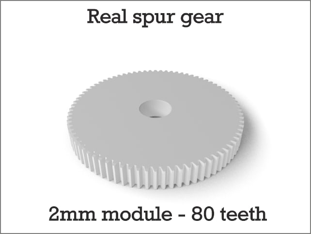 3d real spur gear 2mm