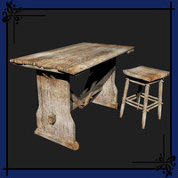 3d model of fantasy style table stool