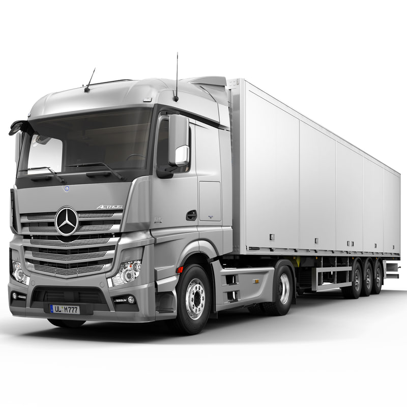 3d model mercedes actros semi trailer