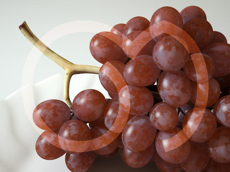 photorealistic red grape obj