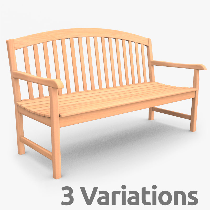 wood garden bench 3d model