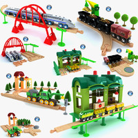 3d kids train toys set model