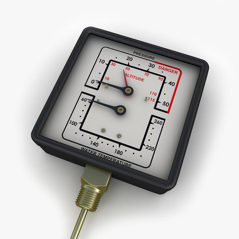 water steam pressure gauge 3ds