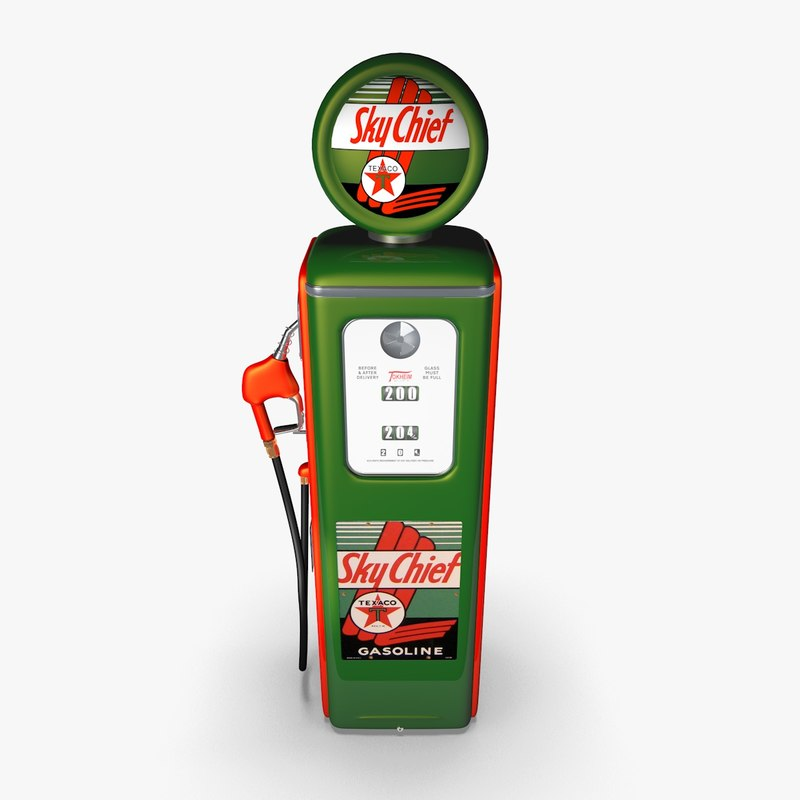 3d model old gas pump