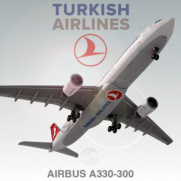 3d 3ds airbus a330-300 plane turkish