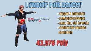 3d folk dance player zeybek