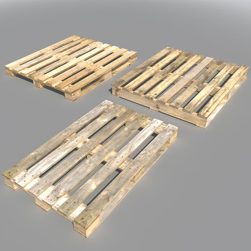 wood pallets 3d fbx