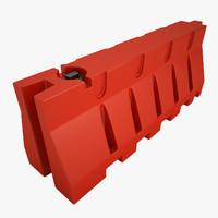 plastic jersey barricade 3d 3ds