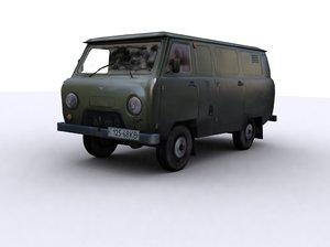 uaz 452 3d model