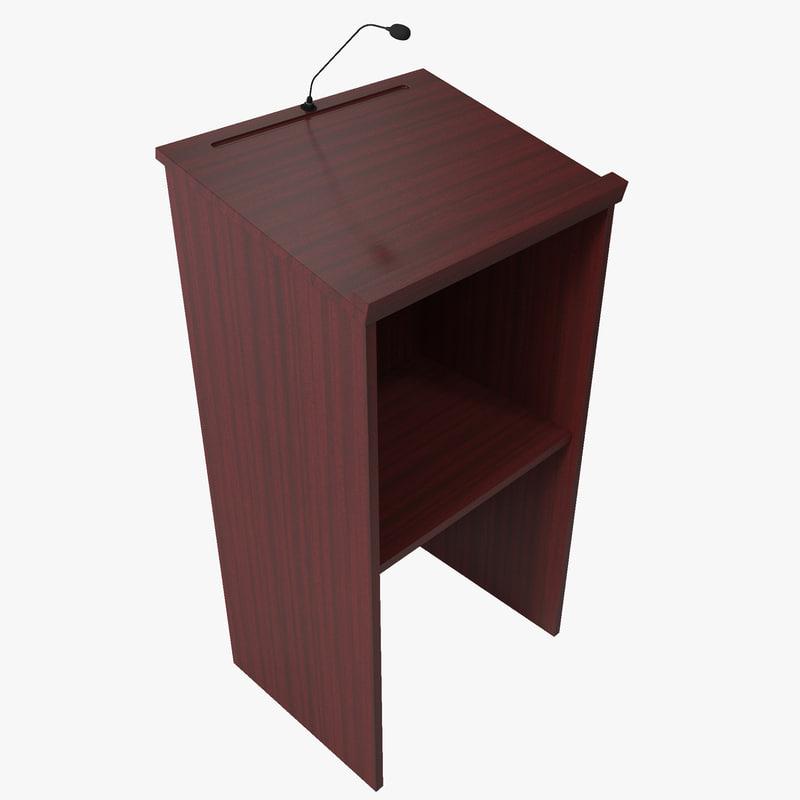 3d model of wood podium