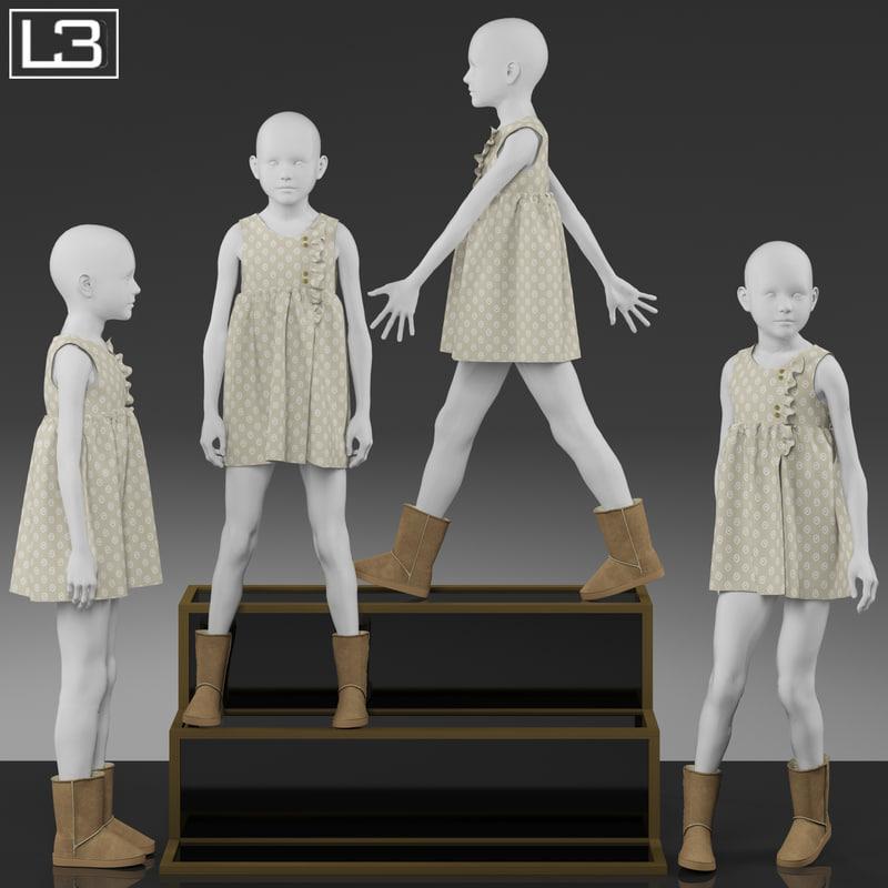 kid mannequin clothes 3d max