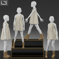 kid mannequin clothes 3d max