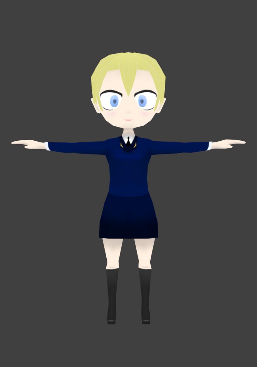 3d model chibi girl military