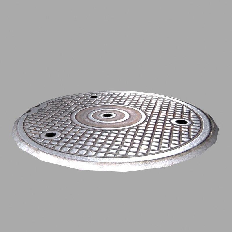 3d sewer lid model