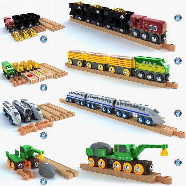 3d model kids train toys