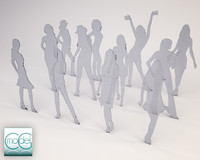 3d model of silhouette people