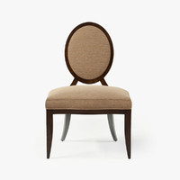 baker oval x-back dining chair 3d model