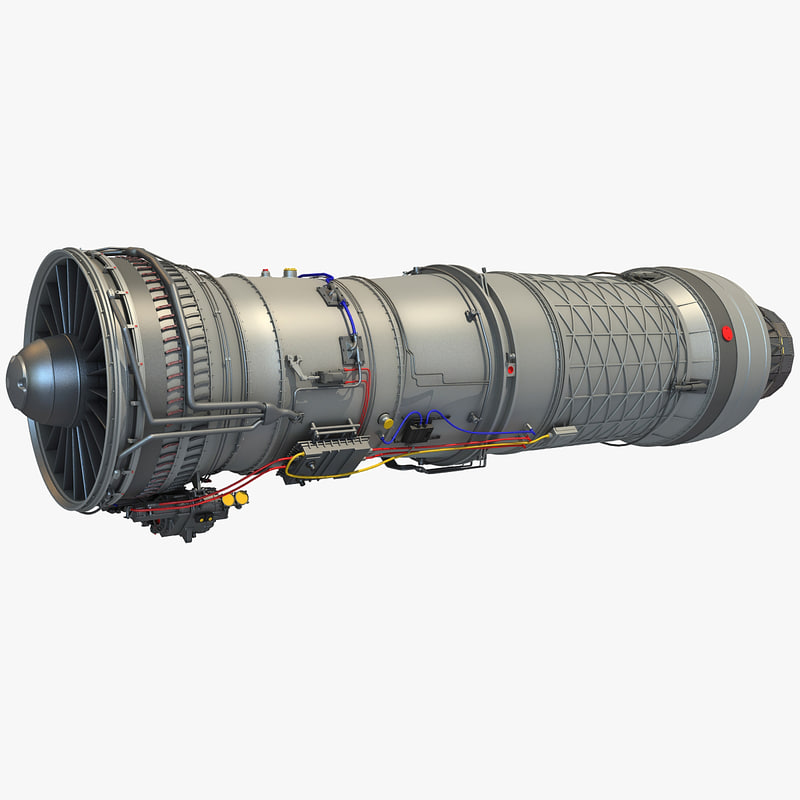3d model pratt f100 afterburning turbofan engine