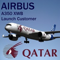 airbus a350 xwb qatar 3d obj