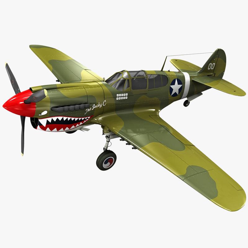 3d curtiss p-40 warhawk fighter model