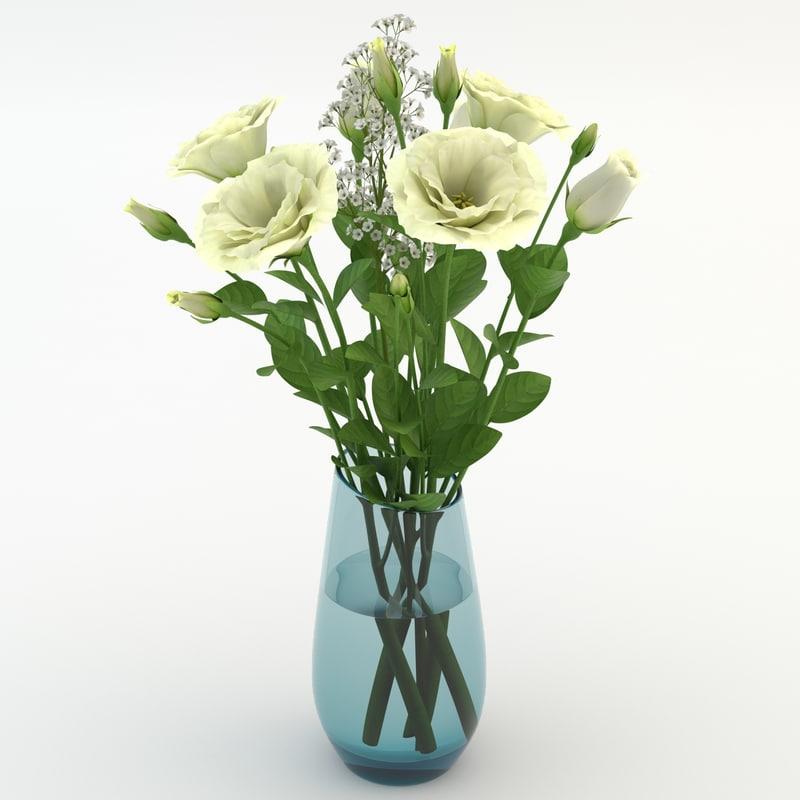 3d model eustoma white
