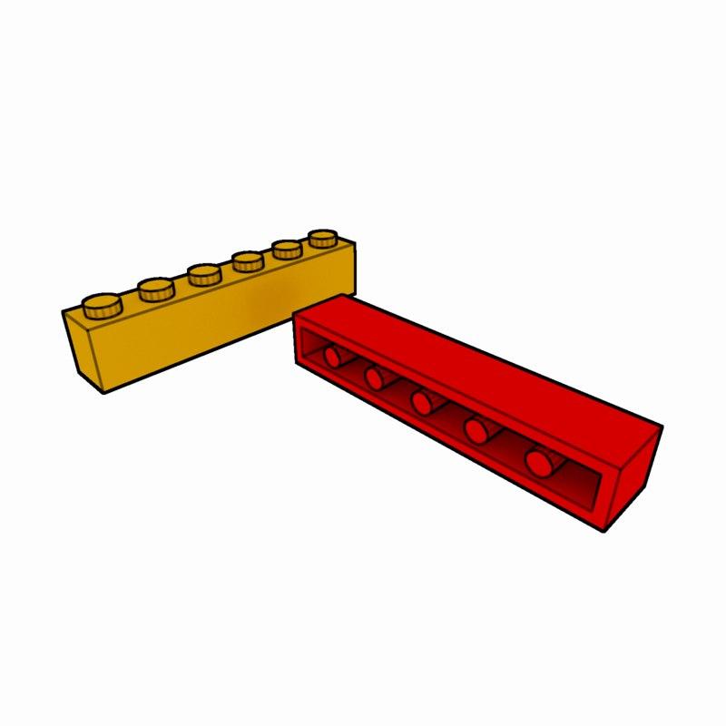 piece lego brick 1x6 3d 3ds