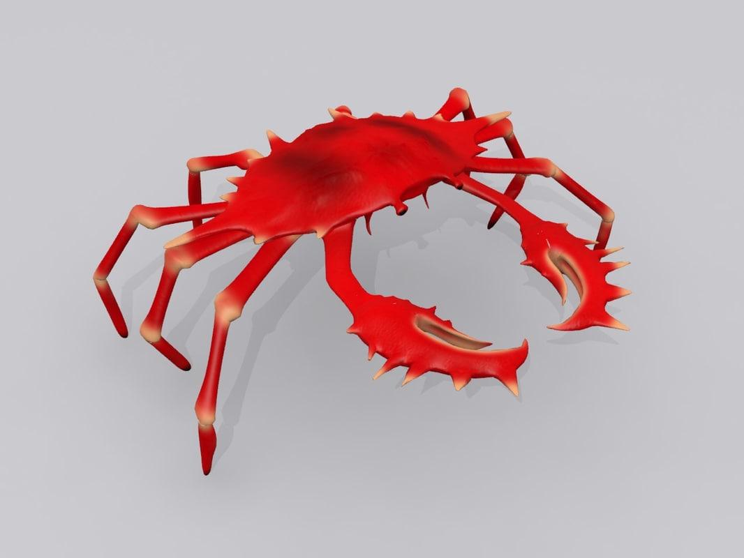3d model red crab