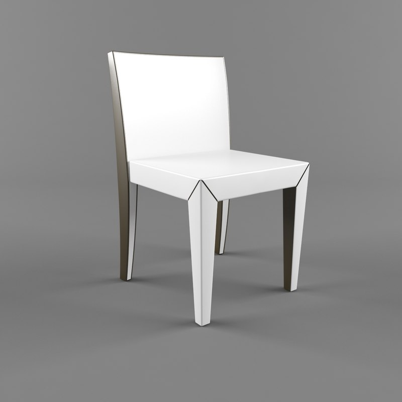 3d model dining white chair