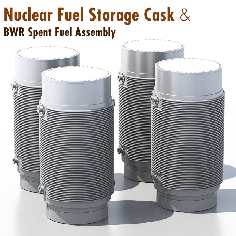 nuclear cask storage fuel 3d max