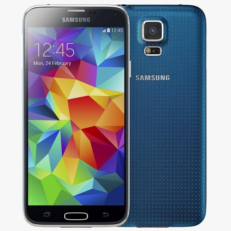 samsung galaxy s5 blue 3d model