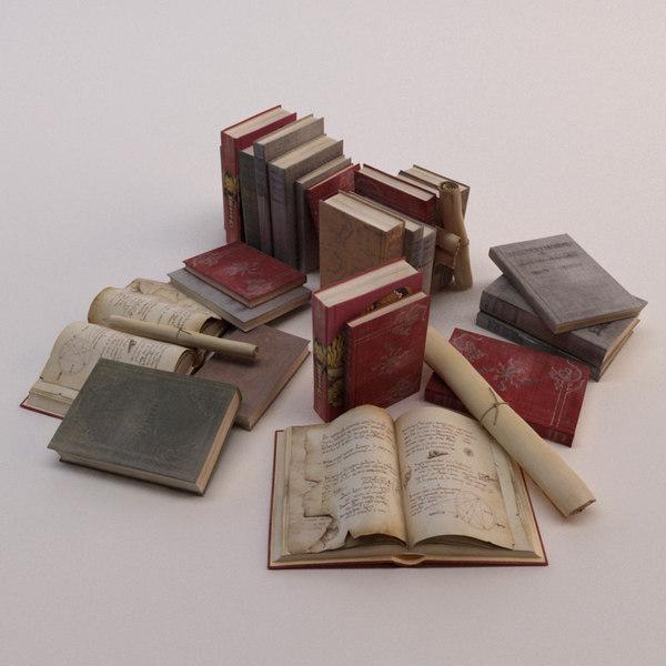 sets old books 3d 3ds