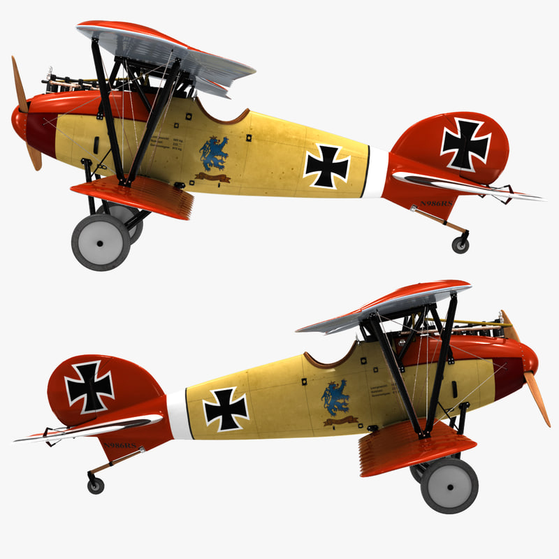 biplane fighter aircraft albatros 3d c4d