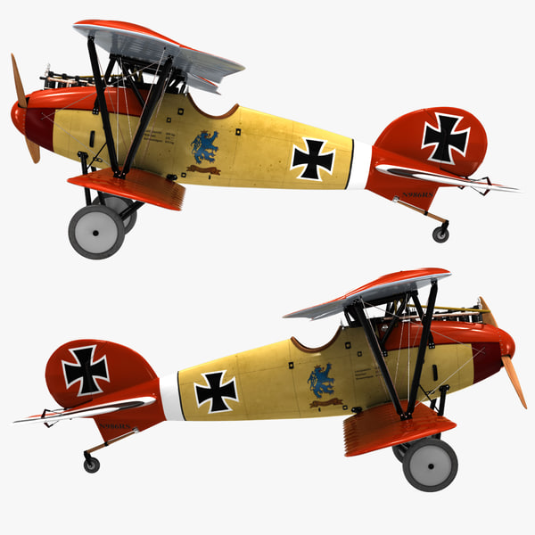 biplane fighter aircraft albatros 3d c4d