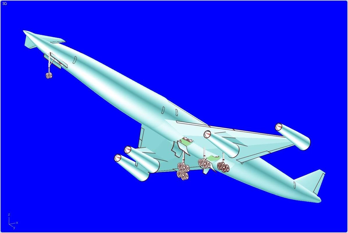 3d lapcat a2 hypersonic aircraft model